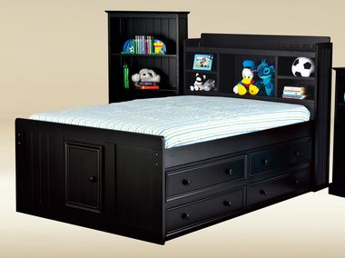 Toledo Black Full Size Captains Bed Fun Youthfull Furniture In