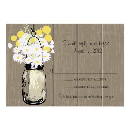 Mason Jar Wild Daisies & Billy Balls  RSVP Personalized Announcement