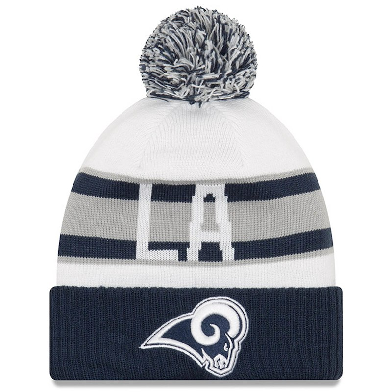 46af185652e9a Los Angeles Rams New Era Retro Cuffed Knit Hat With Pom – White Navy ...
