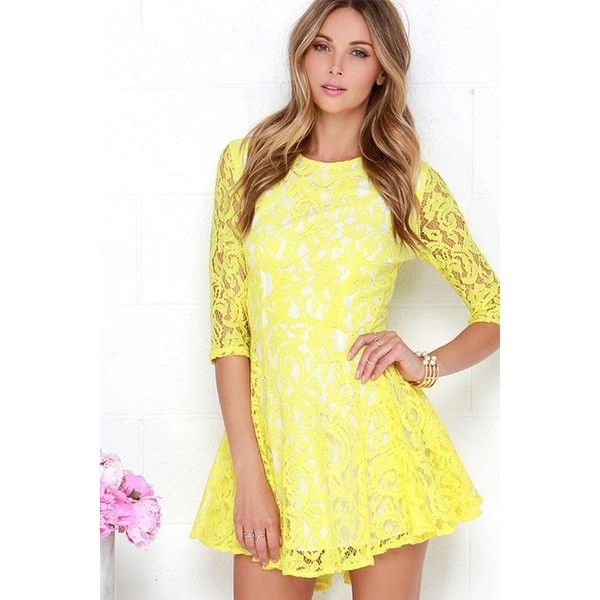 Yellow Lace Three Quarter Sleeves Skater Dress ( 24) ❤ liked on Polyvore  featuring dresses 93c3b57c8