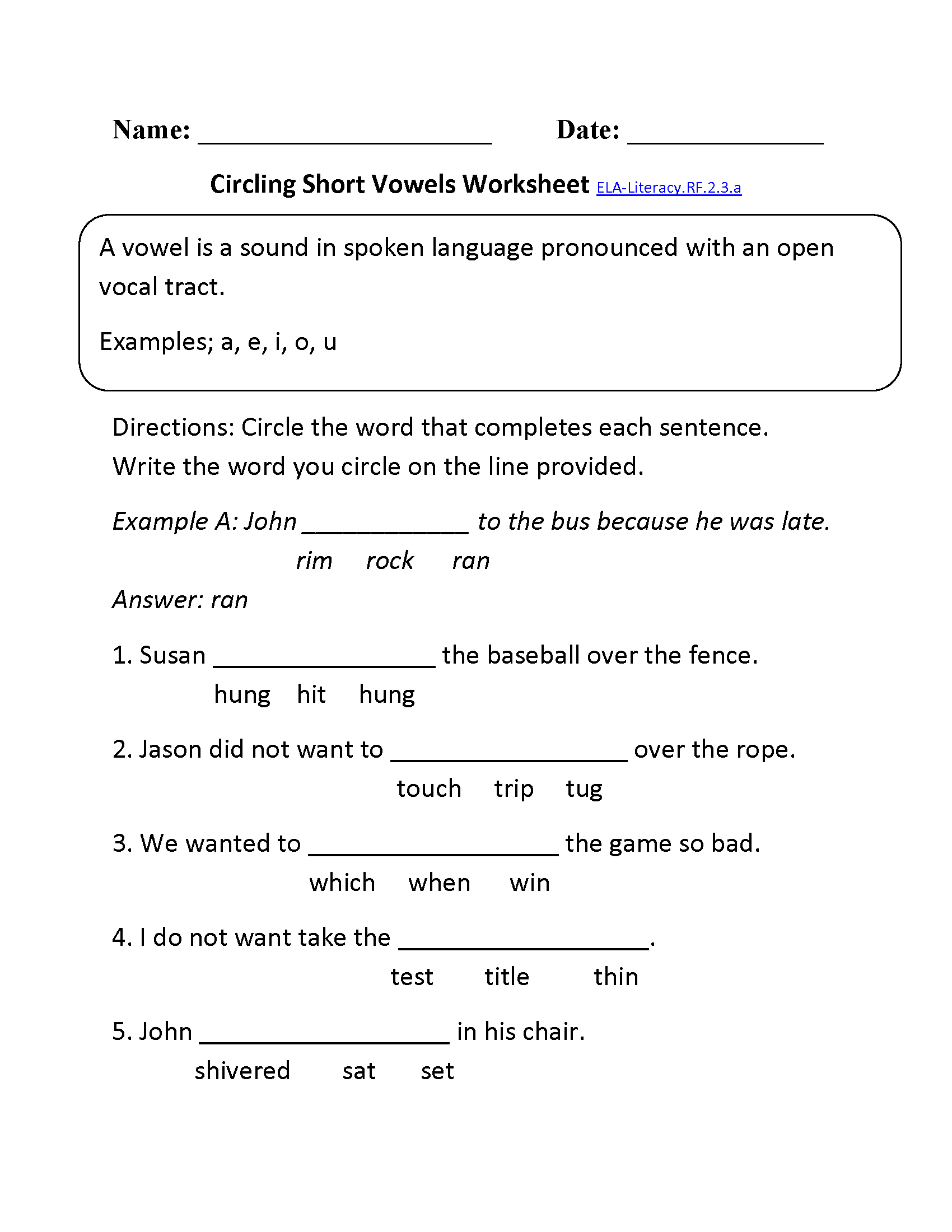 Short Vowels Ela Literacy Rf 2 3 A Reading Foundational