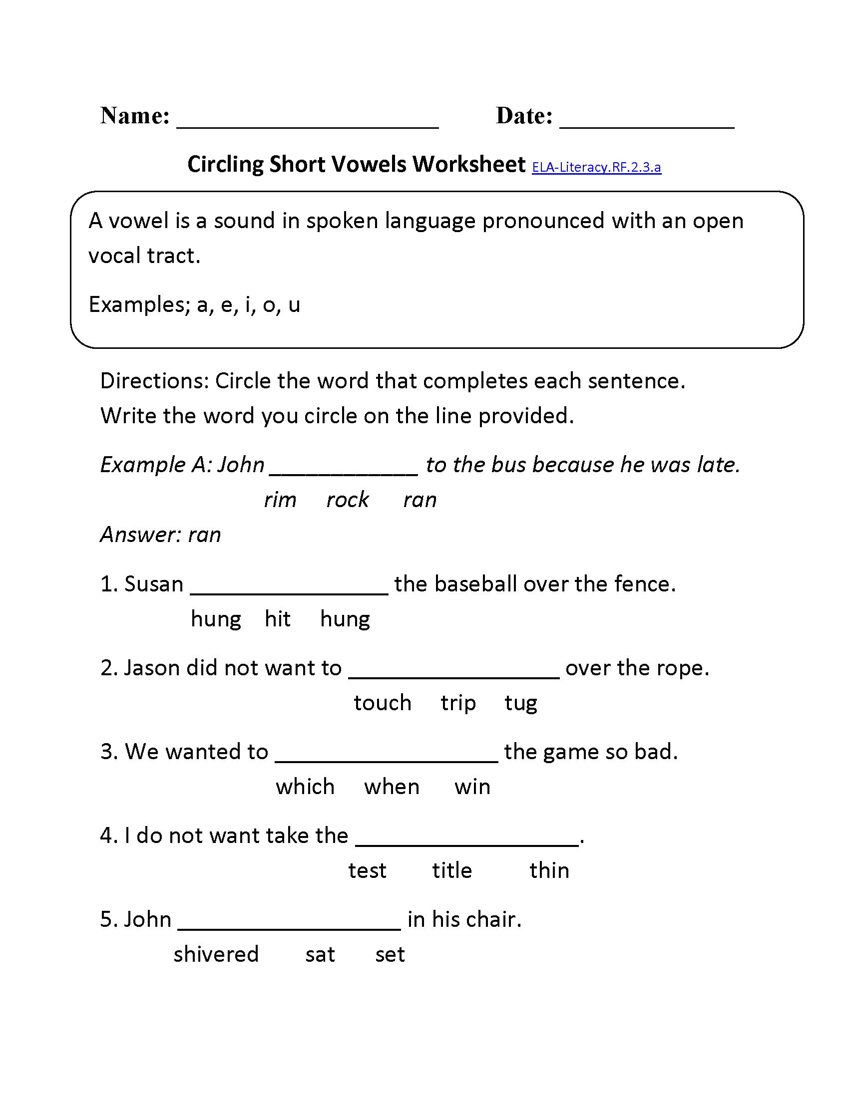 Short Vowels Ela Literacy Rf 2 3 A Reading Foundational