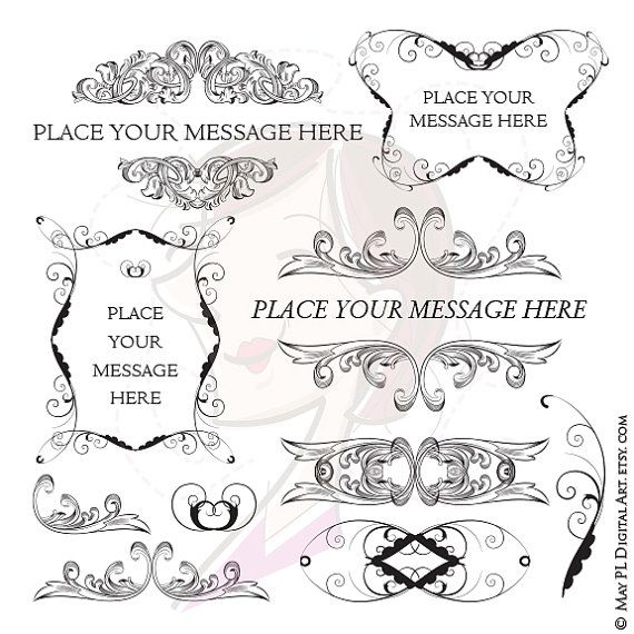 Swirl Borders For Wedding Invitations: Vintage Frames Baroque Style