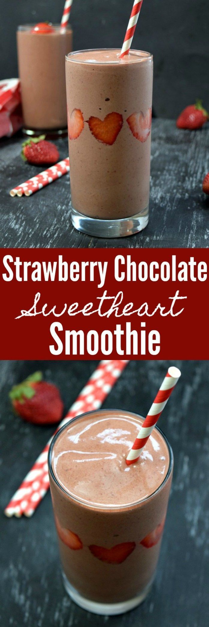 Strawberry Chocolate Sweetheart Smoothie Pinterest Pin #smoothie #strawberry #chocolate #strawberrychocolate #valentinesday #chocolatestrawberrysmoothie
