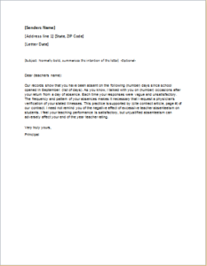 Teacher Absenteeism Warning Letter Download At HttpWww