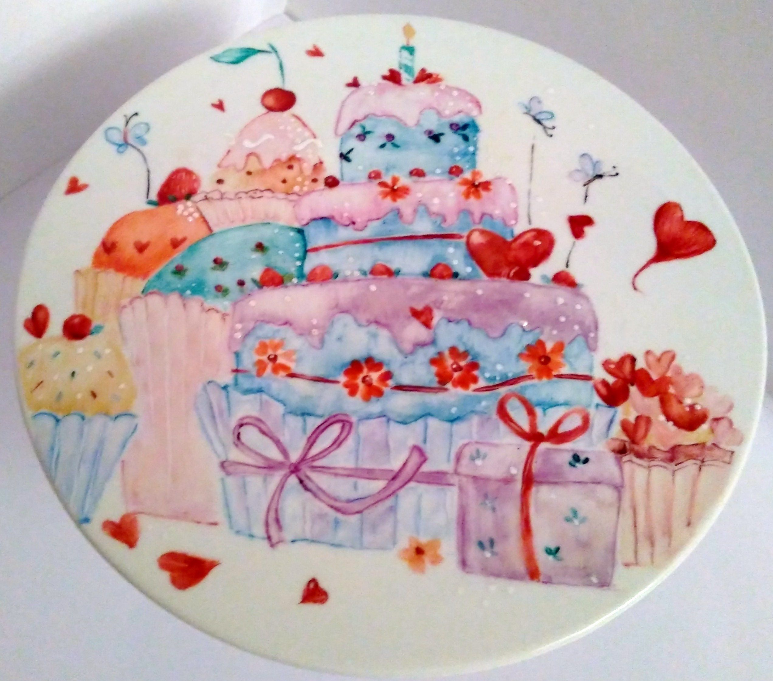 Alzatina dolci in porcellana dipinta a mano | Porcellana ...