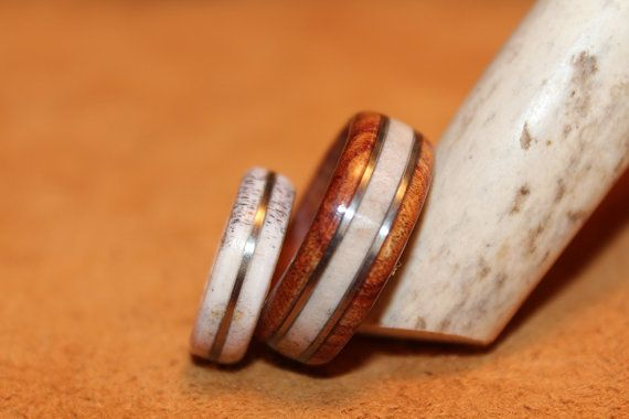 Wood Ring Antler Ring His And Hers Deer Antler By Khwoodworkings