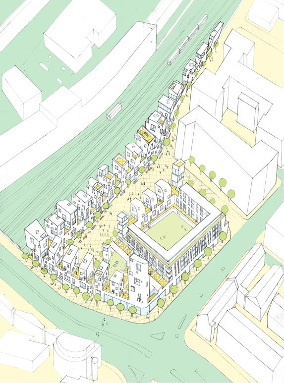 Plan oblique of overall scheme - Cromwell Square - Peter Barber Architects