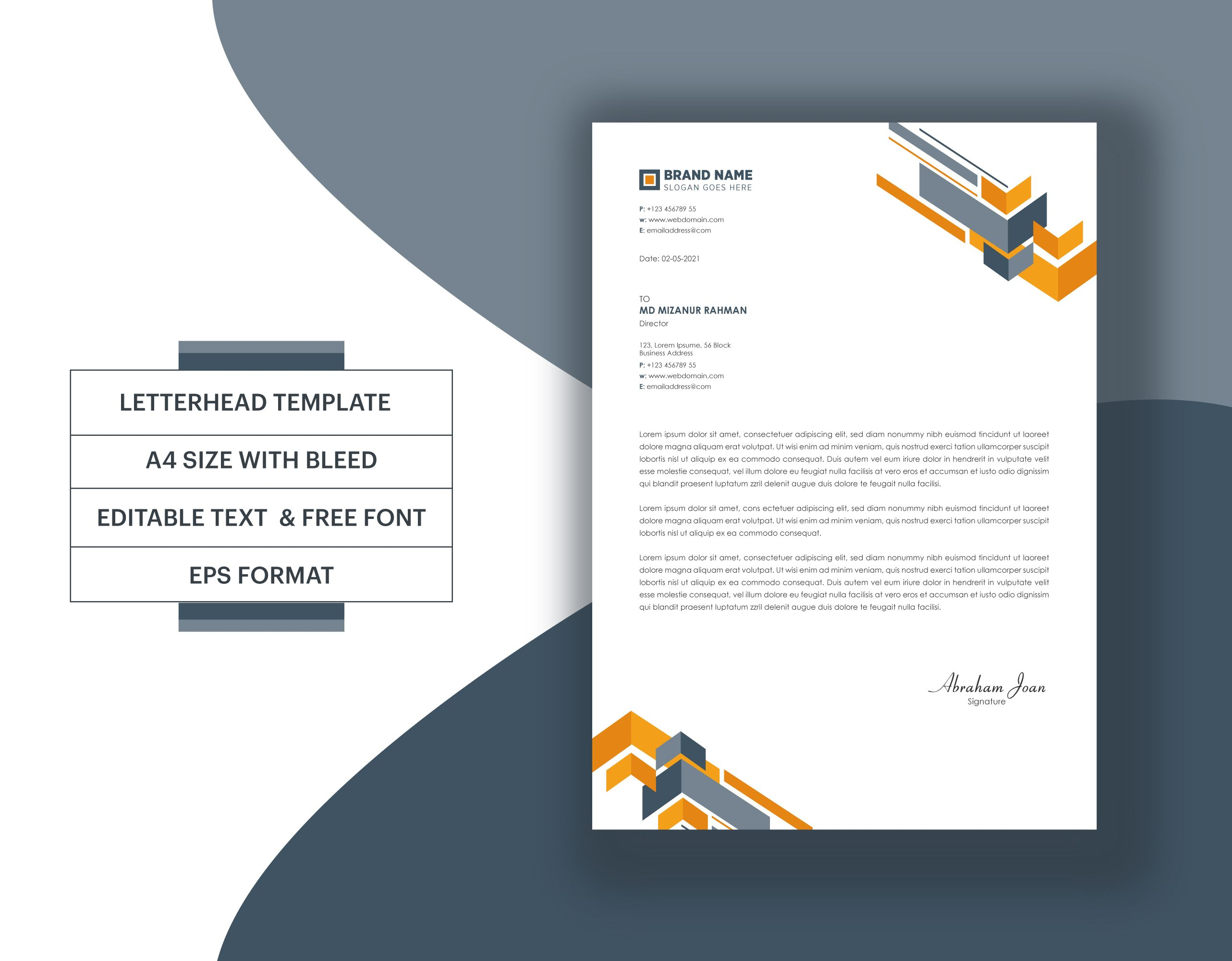 Abstract Business Letterhead Template Eps Format Professional Modern Letter Pad Vector Letterhead Template Letterhead Lettering