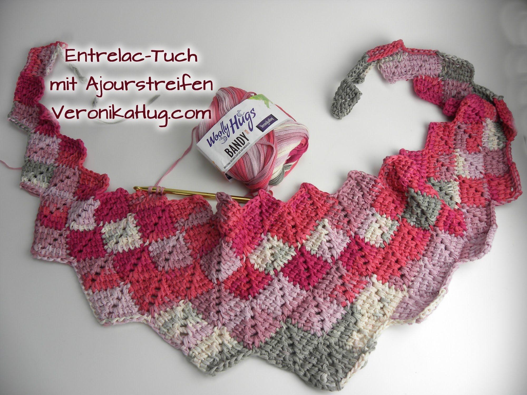 Häkeln Entrelac-Tuch - Woolly Hugs BANDY Veronika Hug - Teil 1 ...
