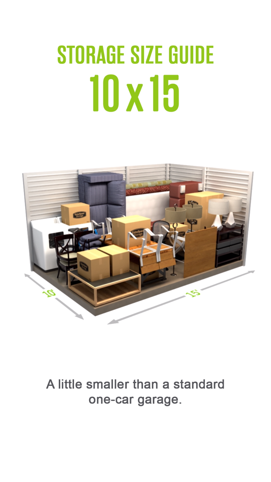 Self Storage Size Guide For A 10x15 Storage Unit A Little Smaller Than A Standard One Car Garage S Video Storage Unit Organization Self Storage Units Self Storage