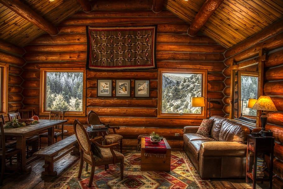 Hd Wallpaper Log Cabin Inside Indoors Interior Furniture Rustic Mood Wallpaper Flare In 2020 Cabin Decor Cabin Interiors Decorating Cabin Homes