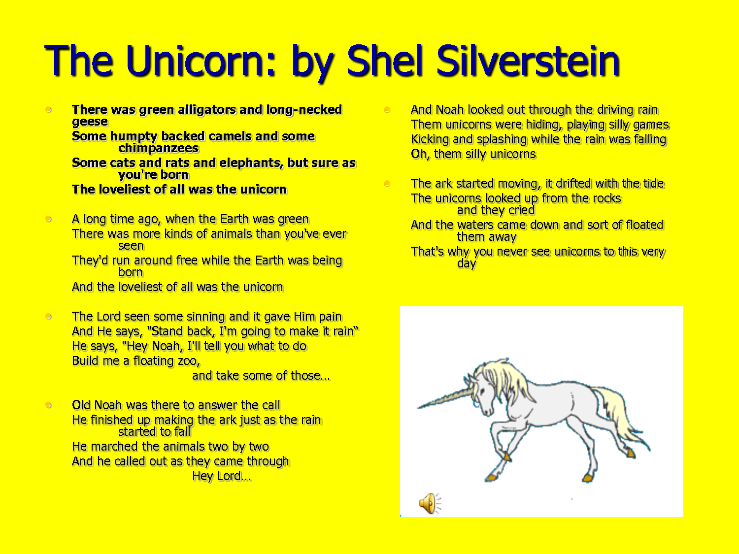 The Voice By Shel Silverstein: The Unicorn By Shel Silverstein