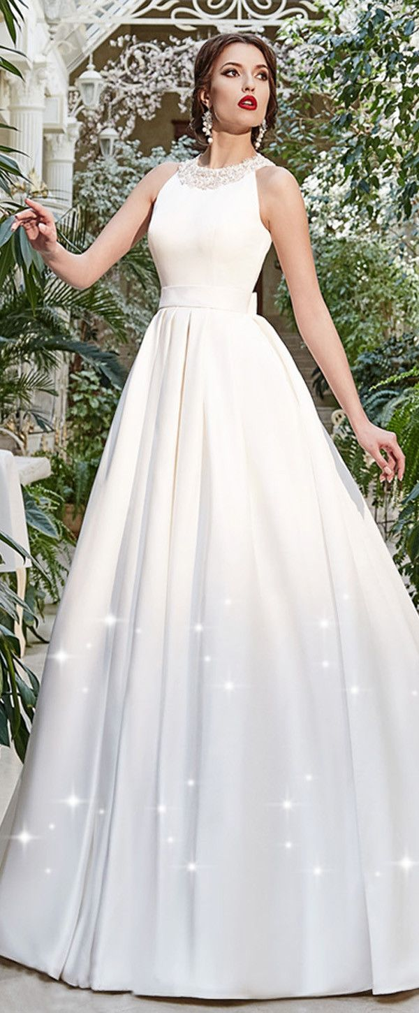 Chic Satin High Collar Neckline A-line Wedding Dresses with Beadings ...