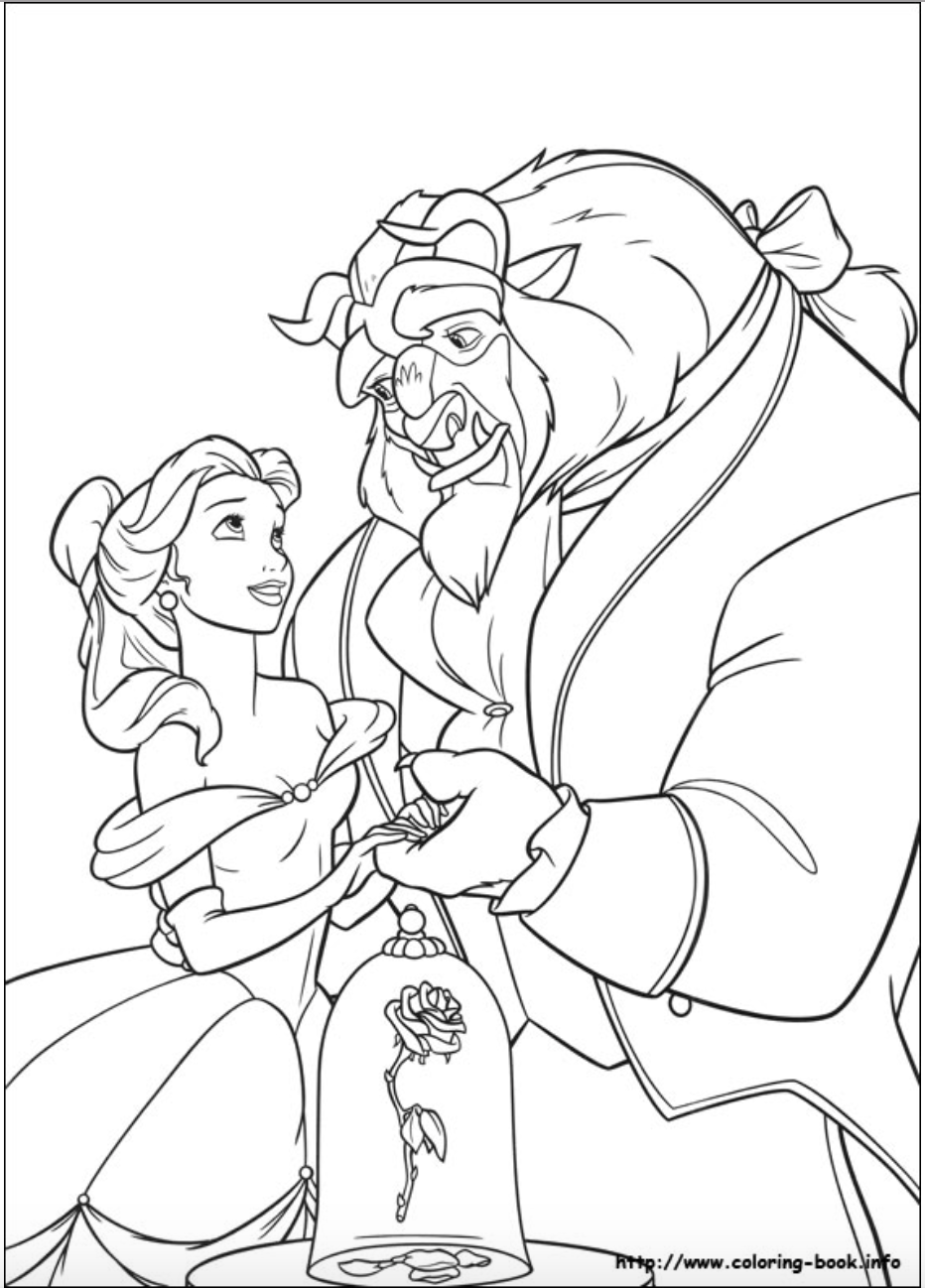Beauty and the Beast- Belle and the Beast coloring page | Beauty and ...