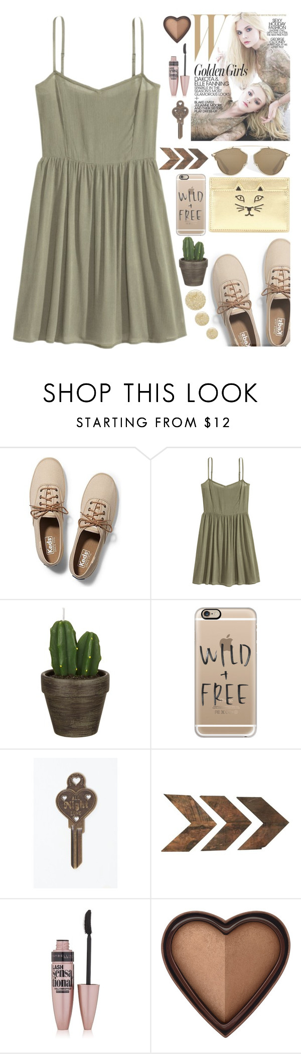 """Army Chic"" by preciouspearll ❤ liked on Polyvore featuring Keds, John Lewis, Casetify, Good Worth & Co., Maybelline, Too Faced Cosmetics, Lancôme, gold, GREEN and army"