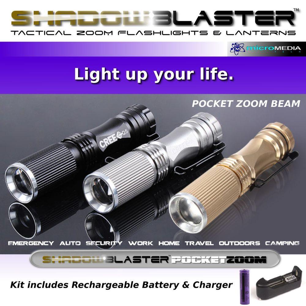 Shadow Blaster Pocket Zoom Flashlight + Battery & Charger #ShadowBlasterUltraFire