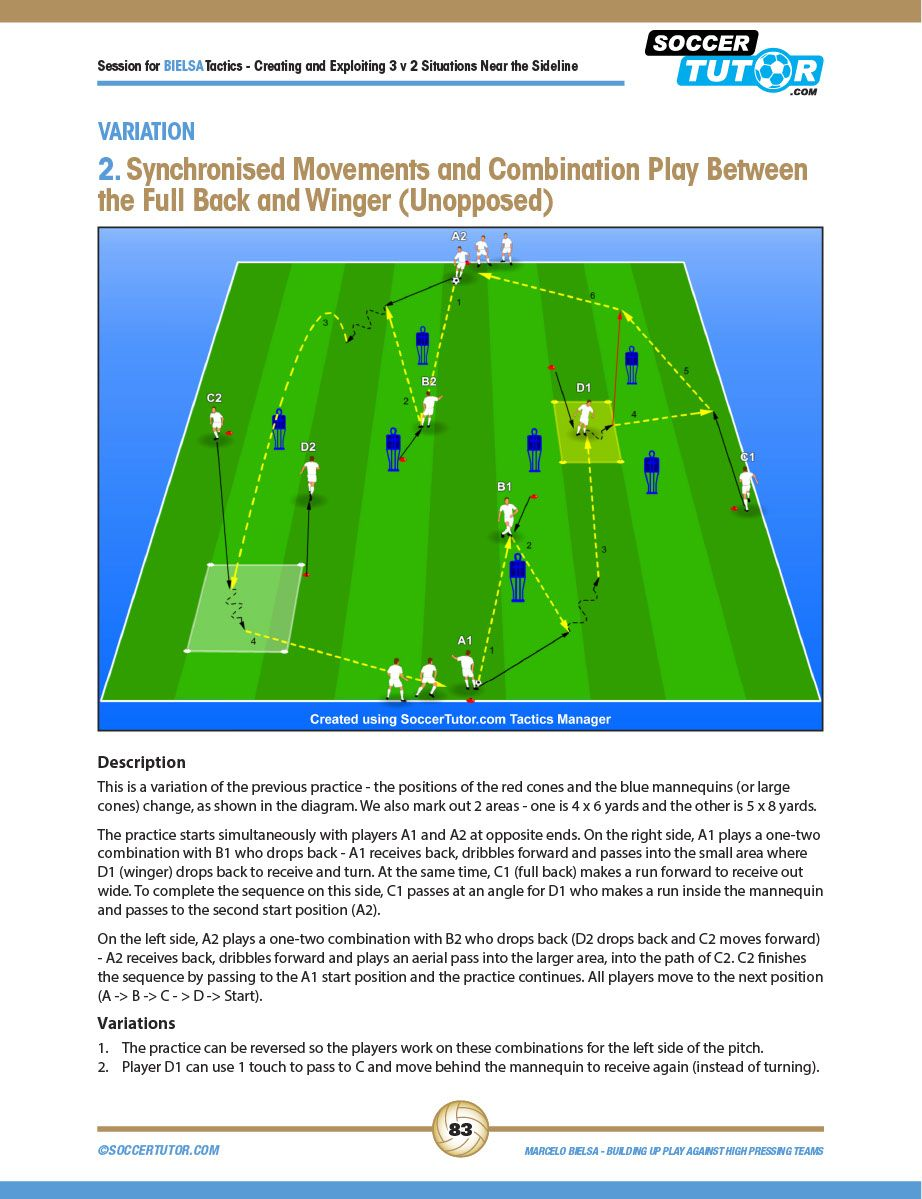Marcelo Bielsa Tactics Creating And Exploiting 3v2 Situations 4 Practices 1 1 Pdf Shared Files Acrobat Co Football Drills Soccer Drills Soccer Training