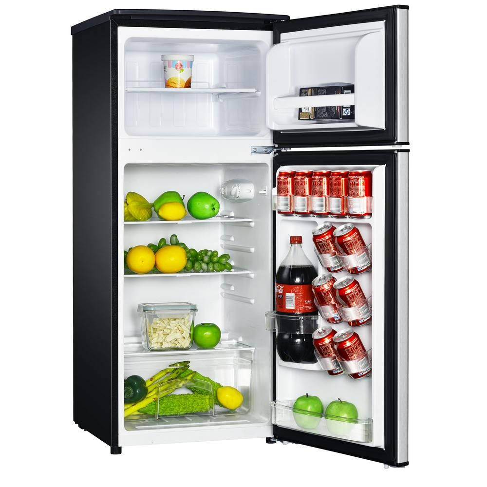Magic Chef 4 5 Cu Ft 2 Door Mini Fridge In Stainless Look With Freezer Hmdr450se The Home Depot Mini Fridge Magic Chef Compact Refrigerator