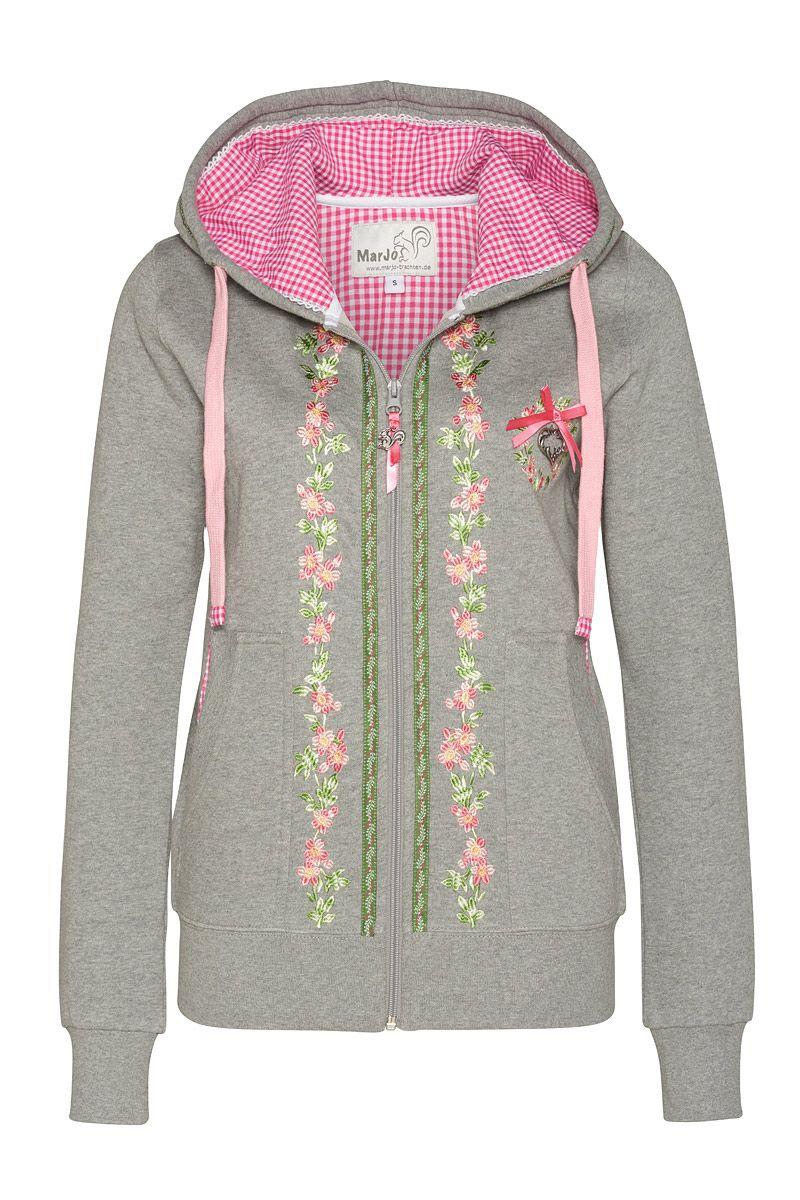 Damen Tracht Sweater grau rosa mit Kapuze | Trachtenjacke