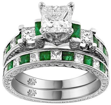 Emerald Diamond #Engagement #Wedding Ring Set White gold wedding ring with emerald accents is ideal.... Hint hint :)