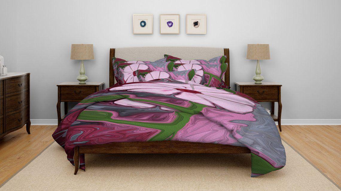 Bedding, Painted Flower Print Comforter or Duvet Cover