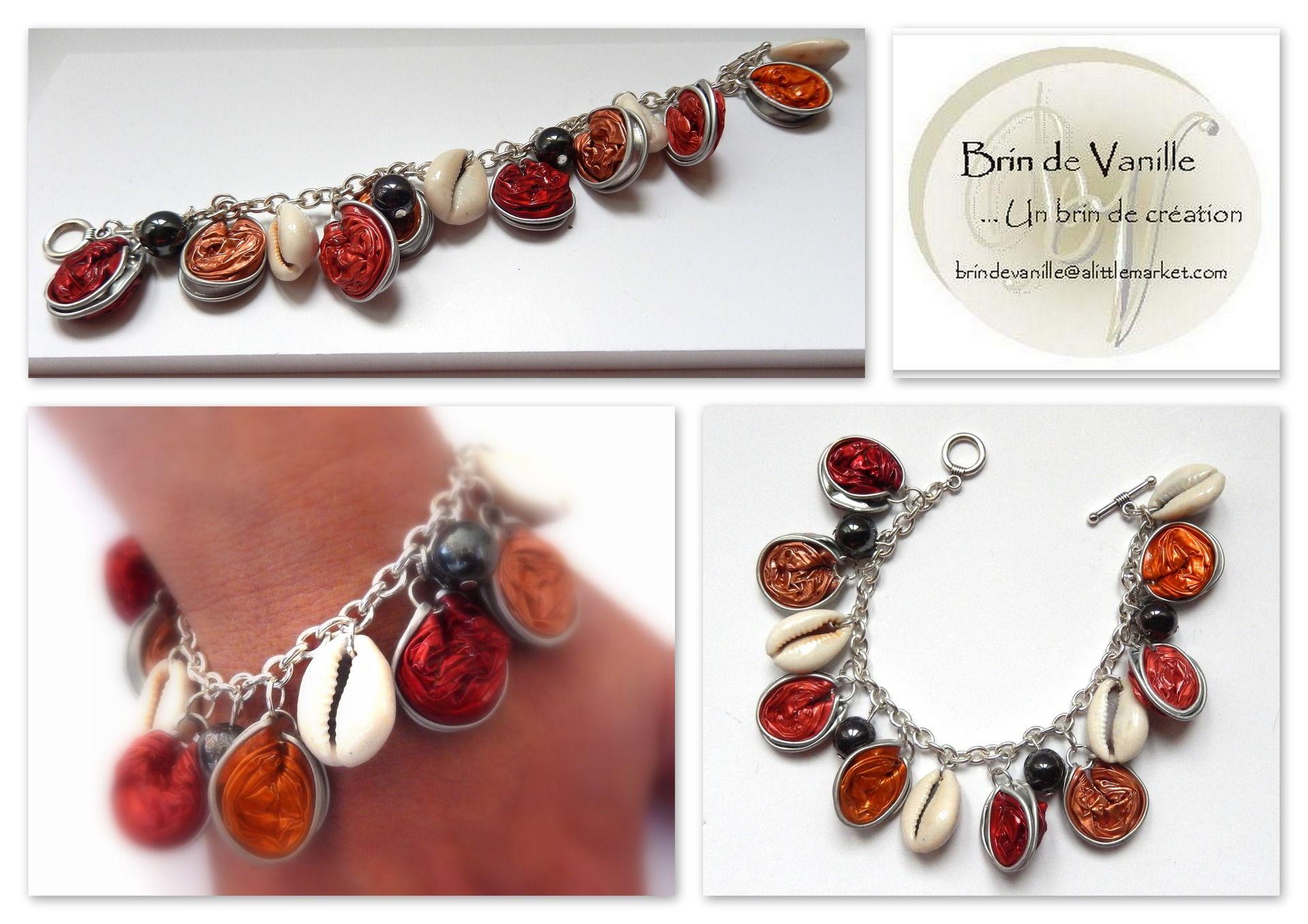 bracelet capsules nespresso avec cauris rouge saumon orange saumon pale bracelet par. Black Bedroom Furniture Sets. Home Design Ideas