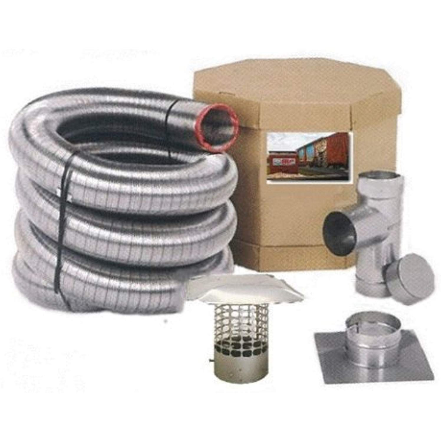 Forever Vent Sw5540ssk Smoothwall Double Ply Stainless Steel Chimney Liner Kit 5 5 Inch X 40 Feet Smooth Walls Stainless Steel