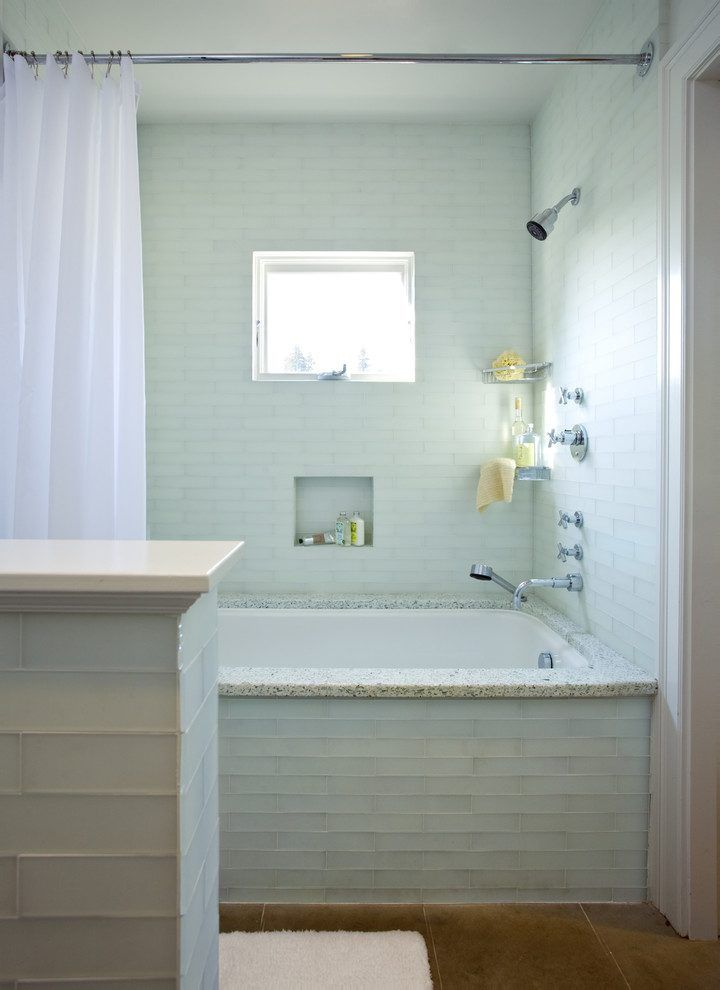 tile tub surround bathroom beach style with faucet metal storage ...