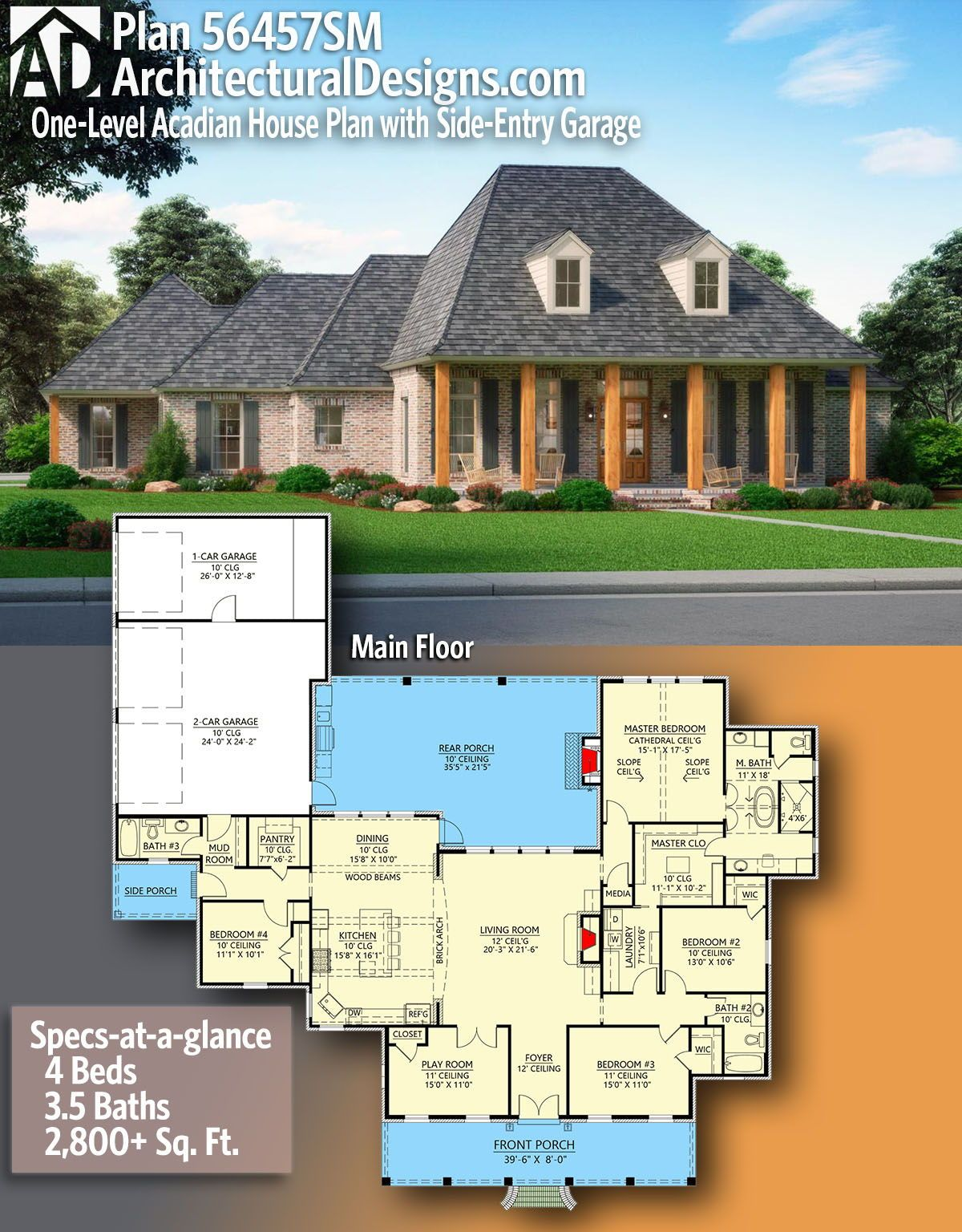 Plan 56457sm One Level Acadian House Plan With Side Entry Garage