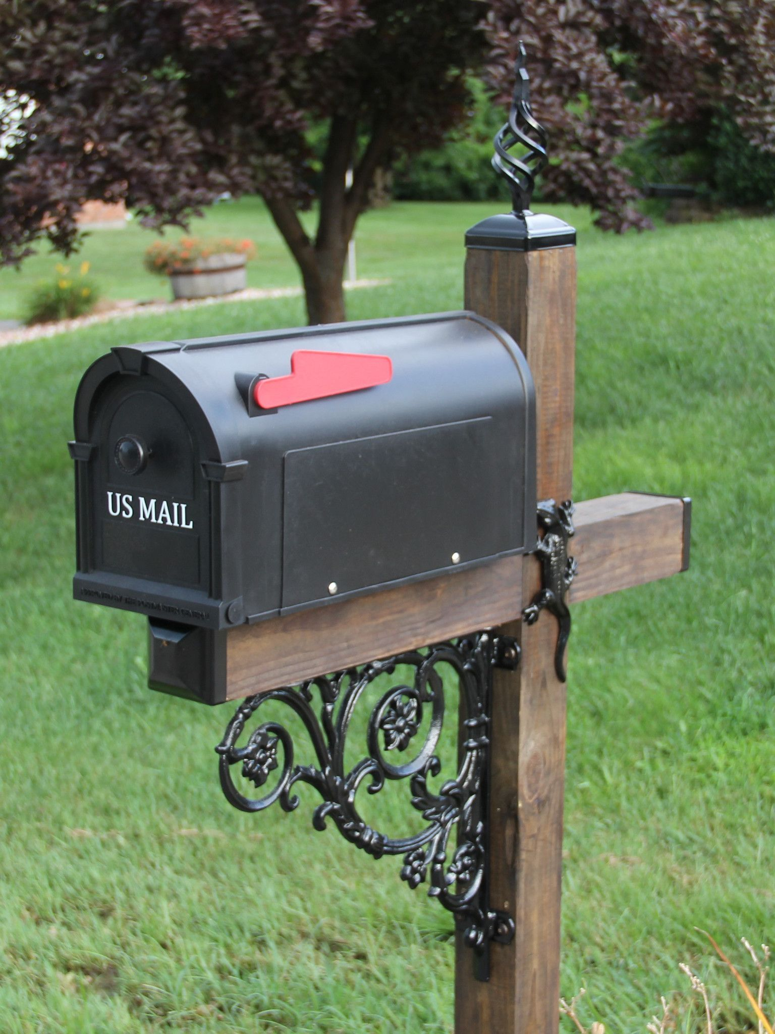 Cross Themed Wrought Iron Mailbox Post Dress Up Kit Mailbox And Post Not Included Wrought Iron Mailbox Mailbox Landscaping Mailbox Makeover