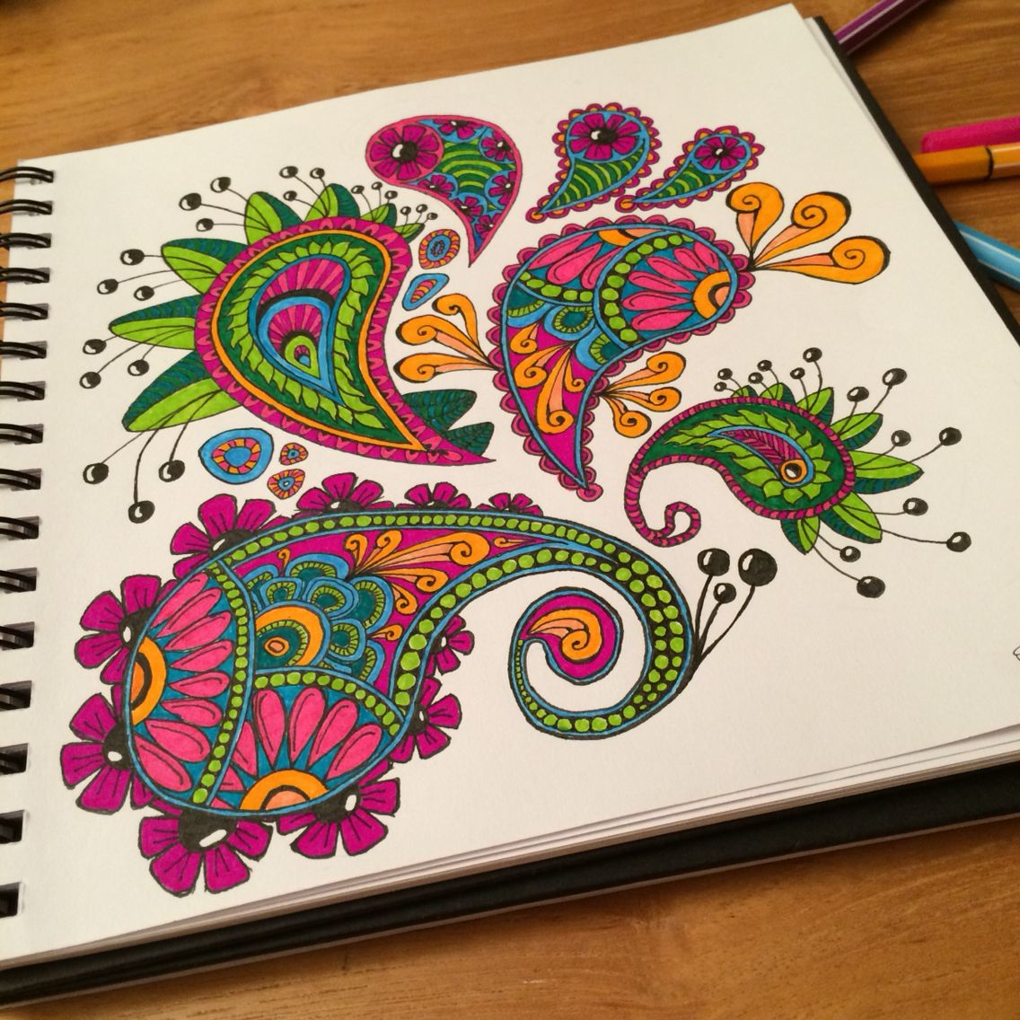 Paisley and flower doodle