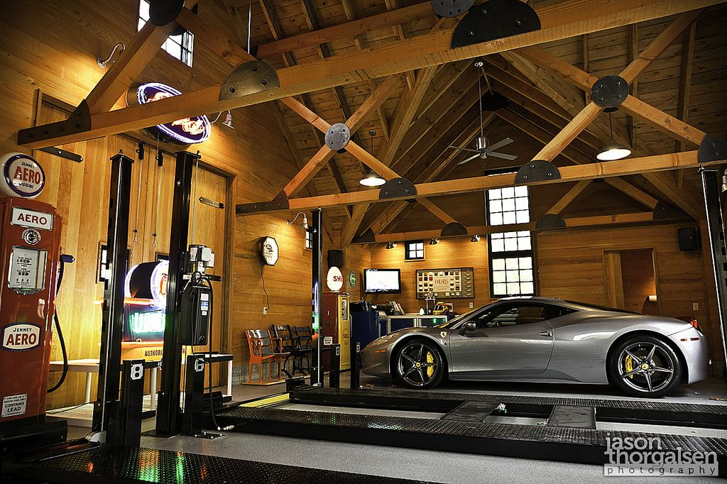 exposed beams and rustic finishes garage lighting on extraordinary affordable man cave garages ideas plan your dream garage id=29884