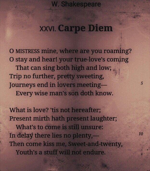 carpe diem w shakespeare poetry carpe diem and  carpe diem essay everybody sport recreation