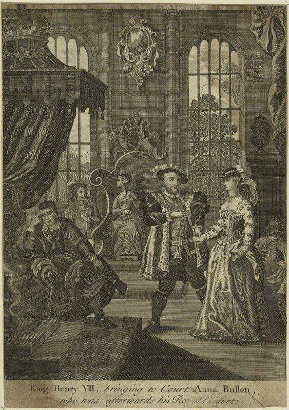 King Henry VIII bringing to Court Anna Boleyn, who was afterwards his Royal Consort. after Unknown artist line engraving, probably 18th century 7 5/8 in. x 5 1/4 in. (194 mm x 134 mm) paper size Given by the daughter of compiler William Fleming MD, Mary Elizabeth Stopford, 1931 NPG D24176