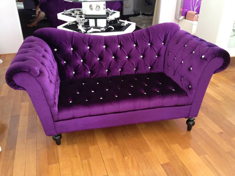 I Need This Couch Purple Velvet With Swarovski Crystal