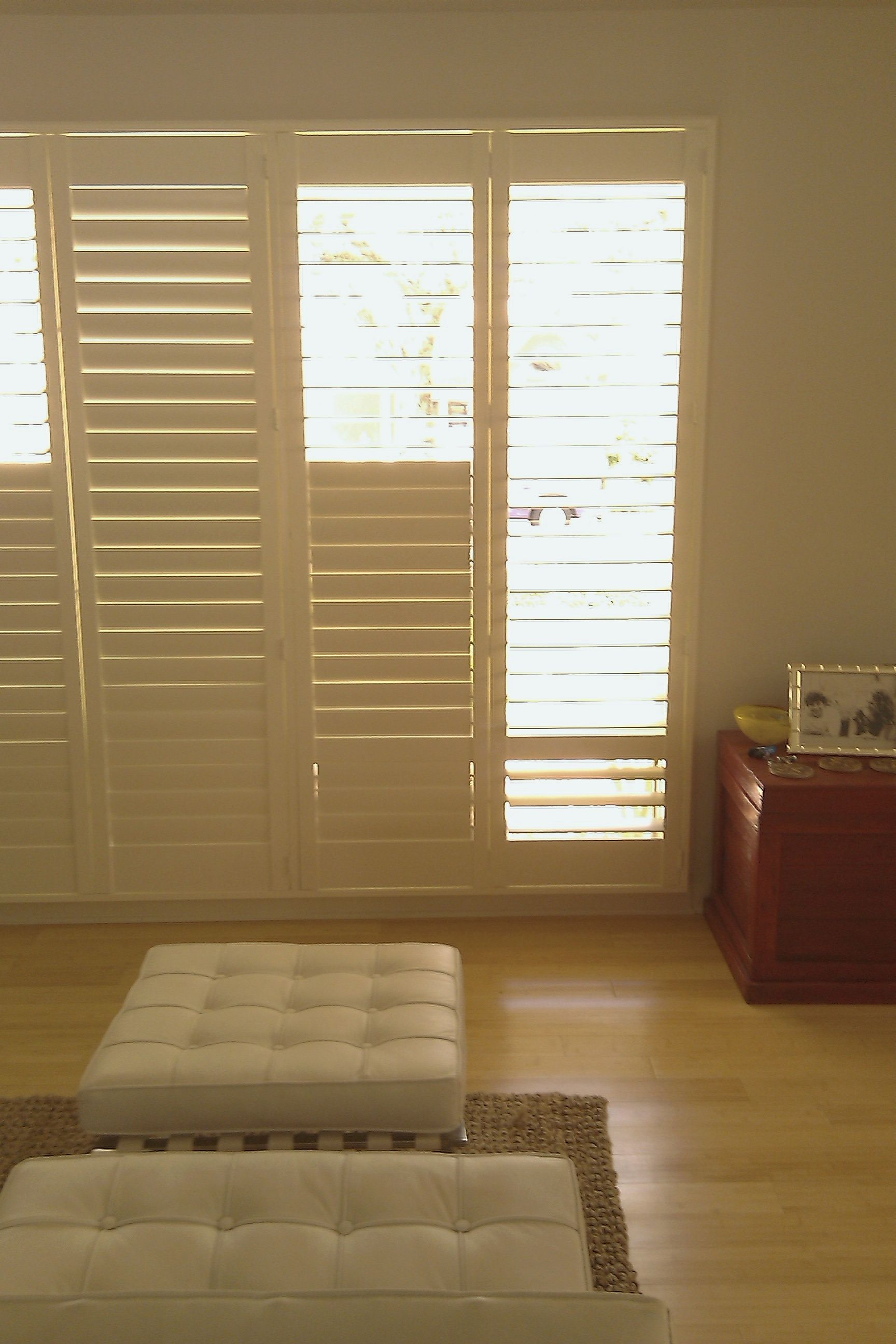 "These 3 1 2"" louver hidden tilt rod custom shutters fit this"