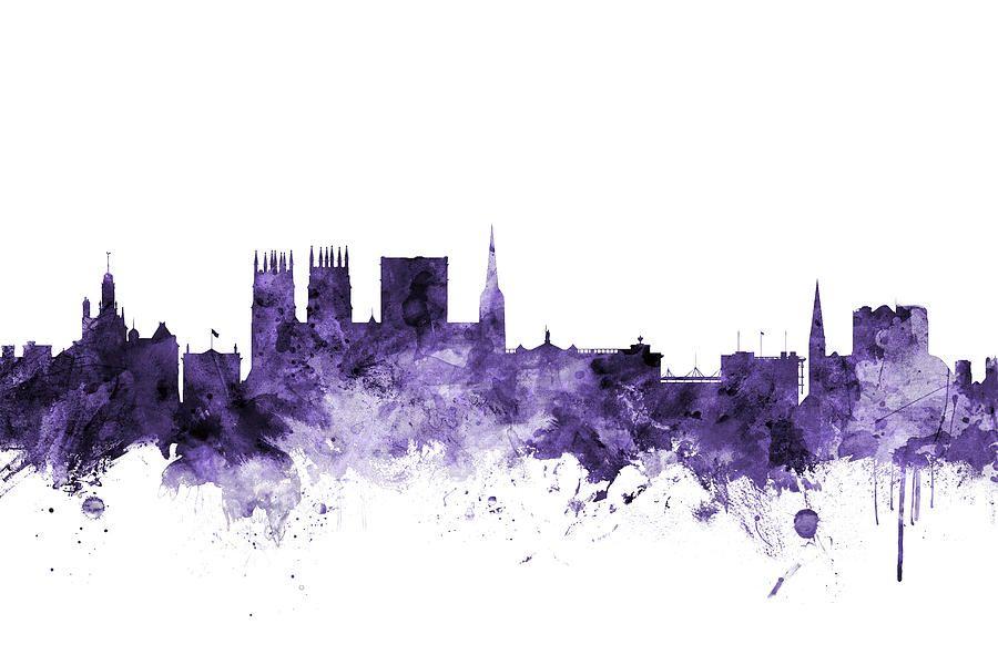 Digital Art - York England Skyline by Michael Tompsett #affiliate , #ad, #spon, #York, #England, #Tompsett, #Art