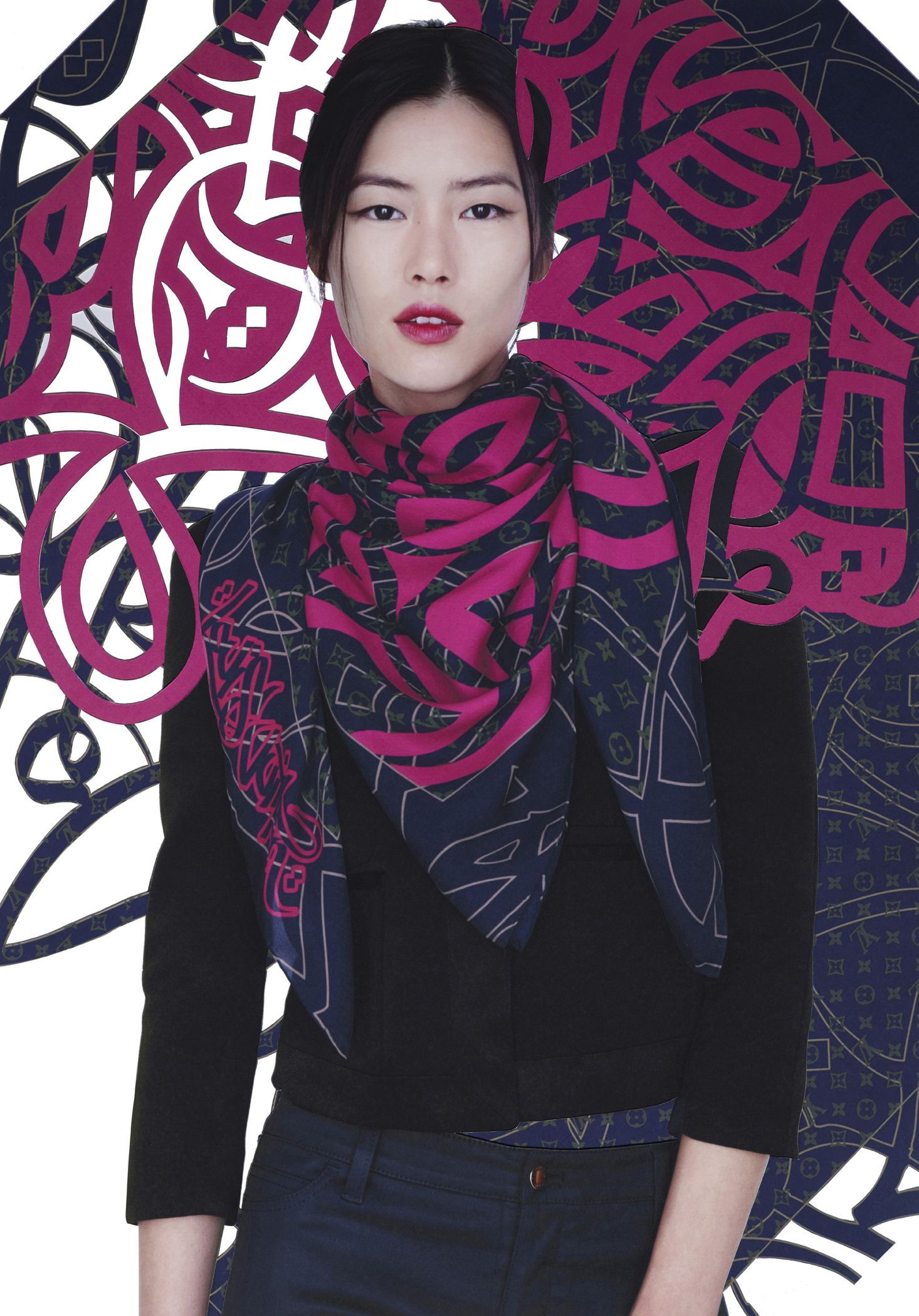 louis vuitton and el seed collaboration/ calligraphy scarf