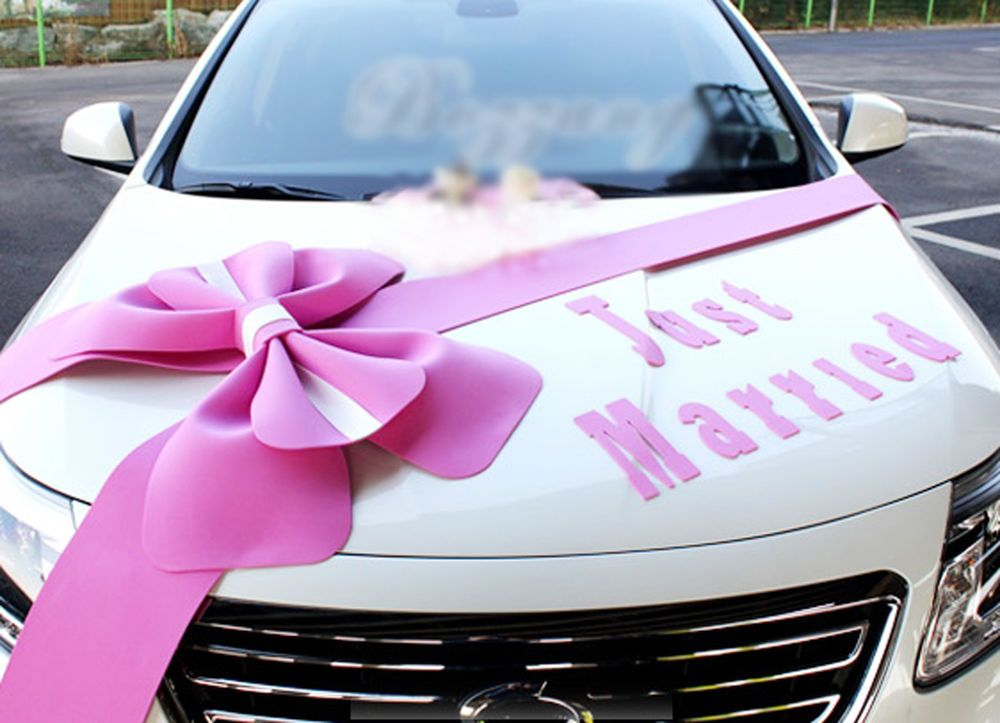 Wedding car Decorations kit Big Ribbons Pink bows Letter banner ...