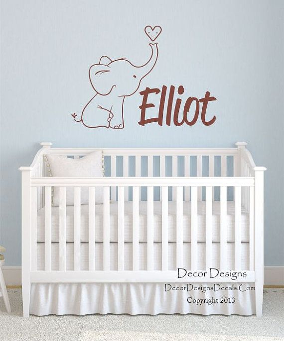 Cute Elephant Custom Name Vinyl Wall Decal Sticker By DecorDesigns - Personalized custom vinyl wall decals for nurserypersonalized vinyl etsy