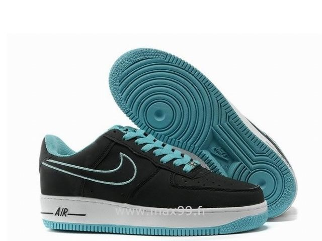 regarder 0e181 e4753 Nike Air Force 1 Basse Noir Blanc Bleu Chaussure pour Homme ...
