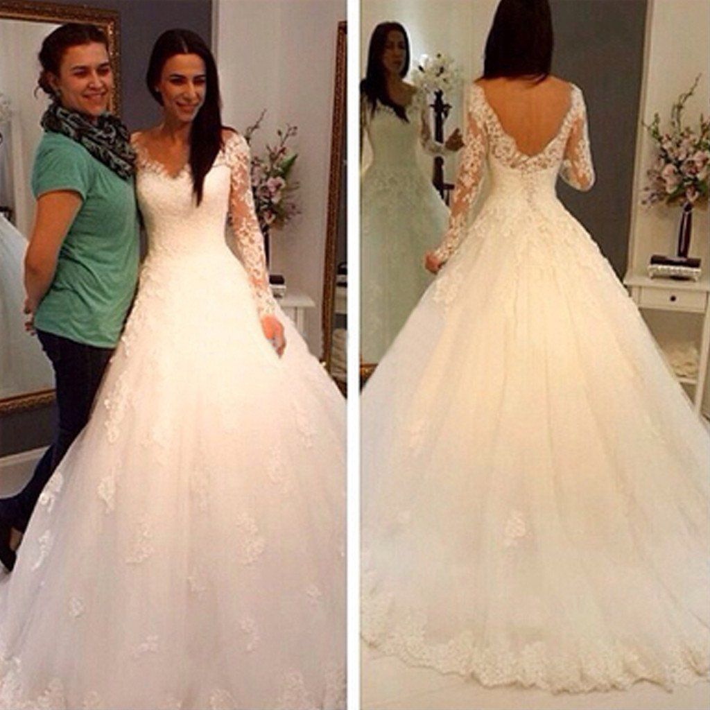 Charming vneck long sleeve lace wedding party dresses gorgeous