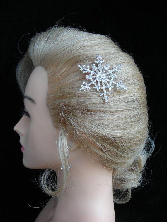 DECEMBER Austrian Crystal Snowflake Hair by DeborahLINKDesigns