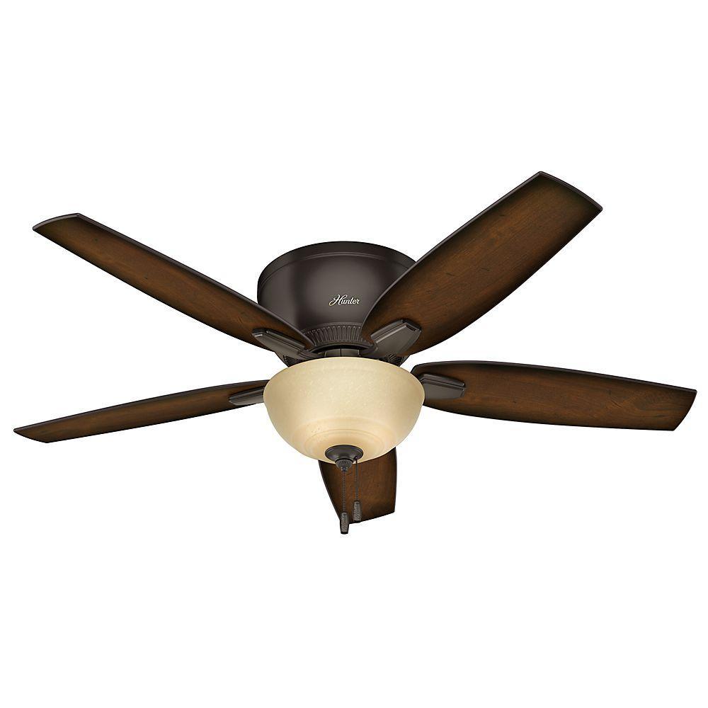 Hunter Oberlin 52 In Indoor Low Profile Premier Bronze Ceiling Fan With Light Kit 53267 The Home Depot Ceiling Fan With Light Bronze Ceiling Fan Ceiling Fan