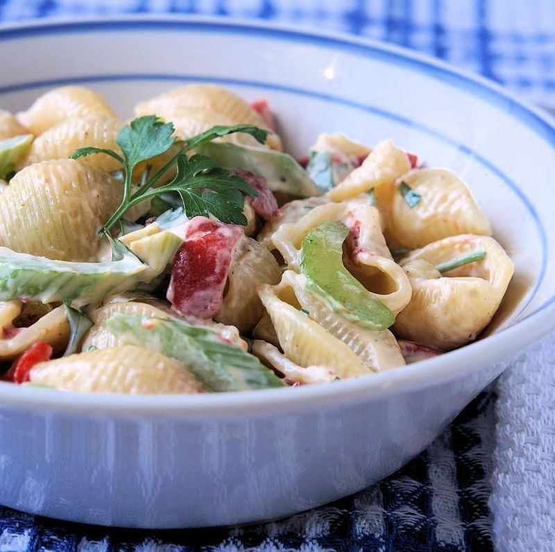 This is my version of a pasta salad that my grandfather used to make, we all loved it. http://www.cautiousvegetarian.ca/recipe/joes-family-recipe-pasta-salad/