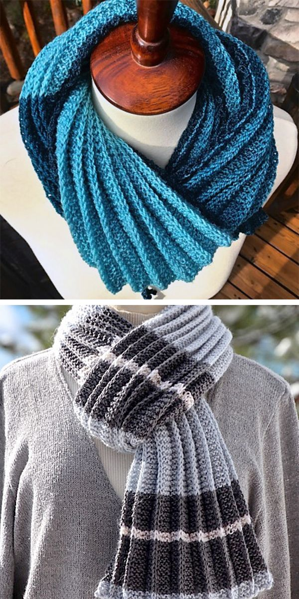 Free Knitting Pattern For 2 Row Repeat Pleated Scarf Knitted Items