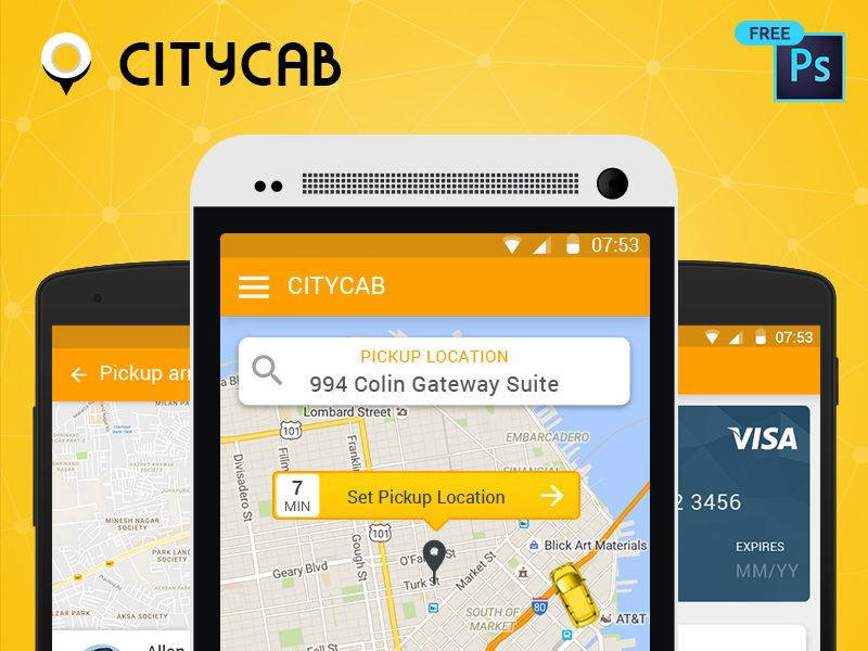 Download Free UI PSD for Uber like Taxi Mobile App App design - new world map software download for mobile