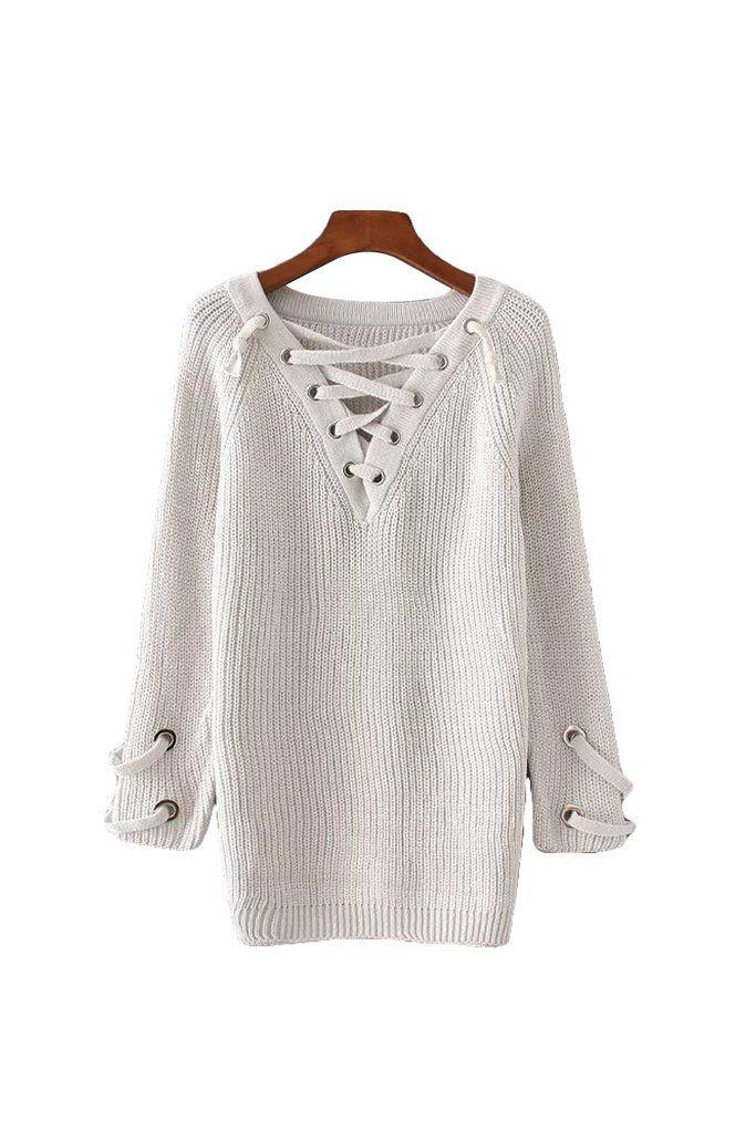 fc317ac67c  Gabriella  Criss Cross V Neck Longline Tunic Sweater from Goodnight  Macaroon.