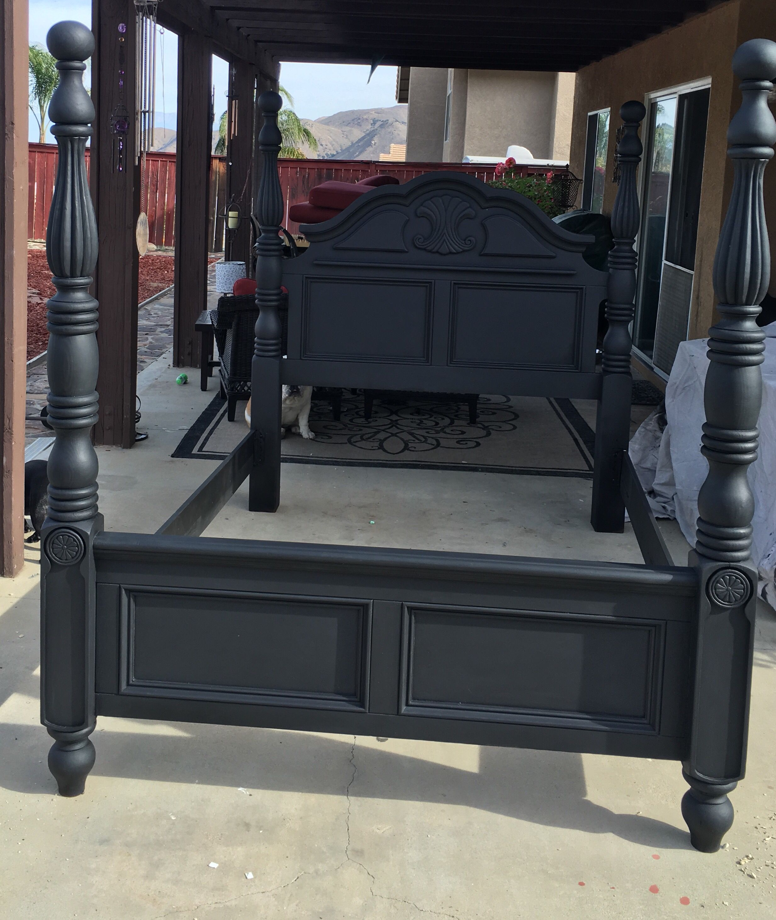 after pic of a bed i repainted with a black chalk paint and